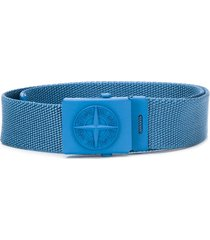 stone island junior engraved logo buckle belt - blue