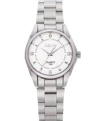 reloj cuarzo mujer acero piedra rin nary 124 blanco