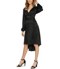 quiz leopard faux-wrap dress