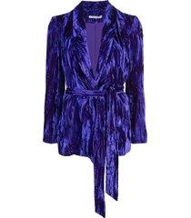 alice+olivia shawl collar wrap-around blazer - purple