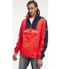 tommy hilfiger men's ripstop colorblock popover jacket racing red/black iris - s