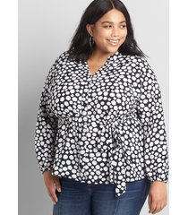lane bryant women's printed button-front belted top 38/40 blue and white dot print
