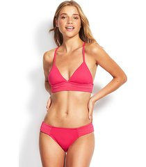 seafolly quilted triangle bikini pink