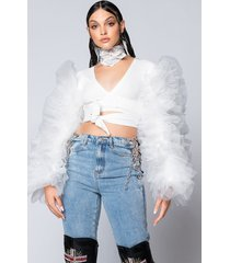 akira bring it out puff sleeve tie front top