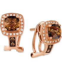 le vian chocolate quartz (1 ct. t.w.) & diamond (1/6 ct. t.w.) drop earrings in 14k rose gold