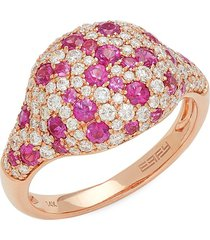 effy women's 14k rose gold, ruby & diamond dome ring - size 7