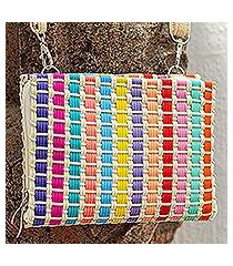 leather accent handwoven wristlet, 'rainbow summer' (mexico)