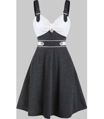 buckle strap heathered contrast flare dress
