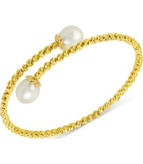 cultured freshwater pearl (8-1/2mm) beaded bypass bangle bracelet in 14k gold-plated sterling silver