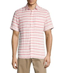 saks fifth avenue men's striped short-sleeve linen shirt - red clay - size s