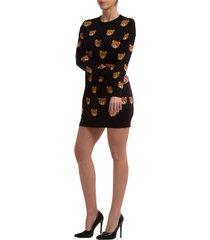 vestito abito donna corto miniabito manica lunga teddy