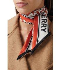 women's burberry logo & tb monogram print skinny silk scarf, size one size - red