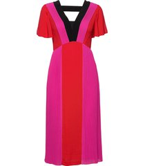 pleated colour block dress knälång klänning rosa karl lagerfeld