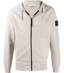 stone island cotton zip-front hoodie with logo patch - neutrals