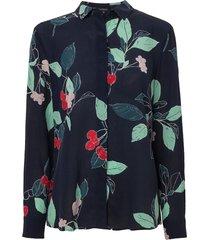camisa le lis blanc luciana seda estampado feminina (cherry print marinho, 50)