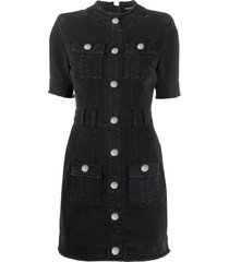 balmain button front dress - black