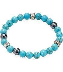 turquoise, hematite and sterling silver beaded bracelet