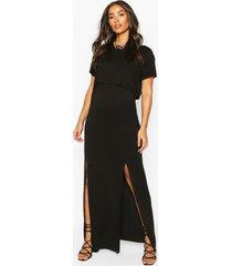 zwangerschaps borstvoeding t-shirt jurk met voorsplit, black