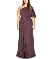 adrianna papell plus size metallic jersey gown