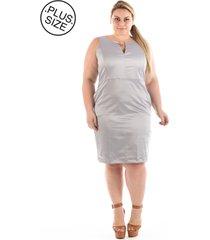 vestido plus size - confidencial extra casual urban satin cetim