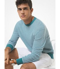 mk pullover in cotone testurizzato a righe - blu laguna (blu) - michael kors