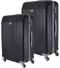 conjunto de mala de viagem em abs ika continental cadeado rodas giro 360º 2 peças p/m