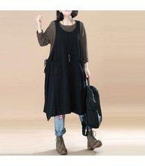 zanzea más el tamaño de las mujeres sin mangas flojas general peto maxi vestido negro -negro