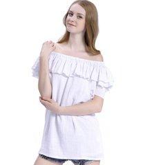 blusa larga vuelo escote blanco nicopoly