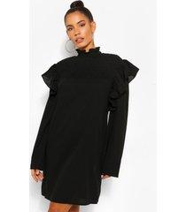 jurk met ruches en hoge hals, zwart