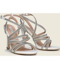 motivi sandali alti con catenelle metalliche donna bianco