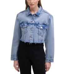 calvin klein jeans raw-hem jean jacket