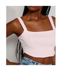 top cropped feminino mindset corset alça larga decote reto rosa claro