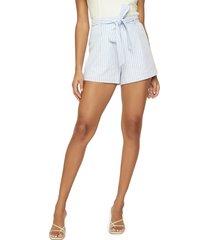 women's lost + wander sivan stripe belted linen & cotton shorts, size medium - blue