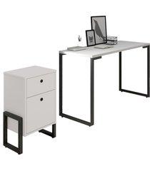 conjunto escritã³rio mesa escrivaninha 120cm e gaveteiro 2 gavetas estilo industrial new port f02 branco - mpozenato - branco - dafiti