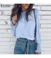 zanzea para mujer casual de las señoras del botón blusa de la gasa de down elásticos puños de camisas tops -azul