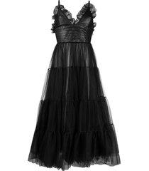 brognano tulle tiered midi dress - black