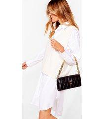 womens want change my mind quilted shoulder bag - black