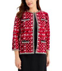 kasper knit fringed-trim cardigan