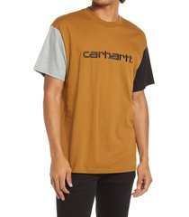 men's carhartt work in progress men's tricolor embroidered logo t-shirt, size large - brown