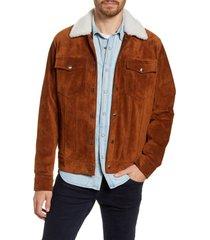 men's frame genuine shearling collar suede trucker jacket