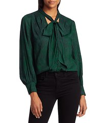 tie-neck python print blouse