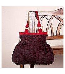 wool shoulder bag, 'cherry coal' (peru)
