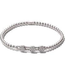 as29 18kt white gold alf 3-round extendable diamond bracelet - silver