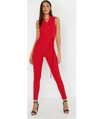 tall sleeveless blazer tailored jumpsuit, red