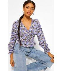 geweven bloemenprint blouse met knopen, purple