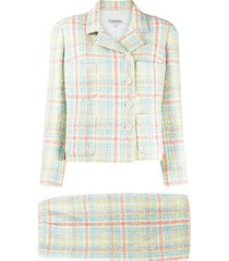 chanel pre-owned tweed two-piece skirt suit - blue
