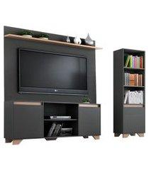 conjunto de rack com painel para tv até 50 polegadas e estante friso i grafite e siena