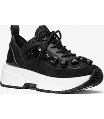 mk sneaker chaplin in mesh e pelle con decori gioiello - nero (nero) - michael kors