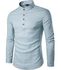 ropala camisetacollar botones transpirable largo retro style