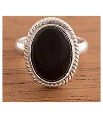 onyx cocktail ring, 'black classic' (peru)